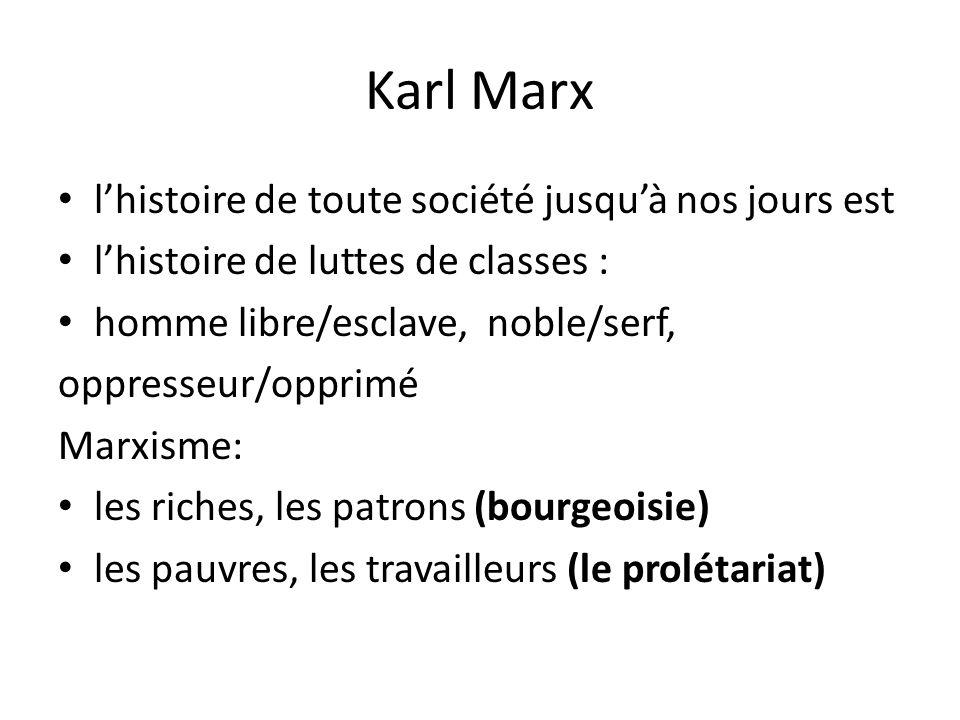 Karl Marx l'histoire de toute société jusqu'à nos jours est