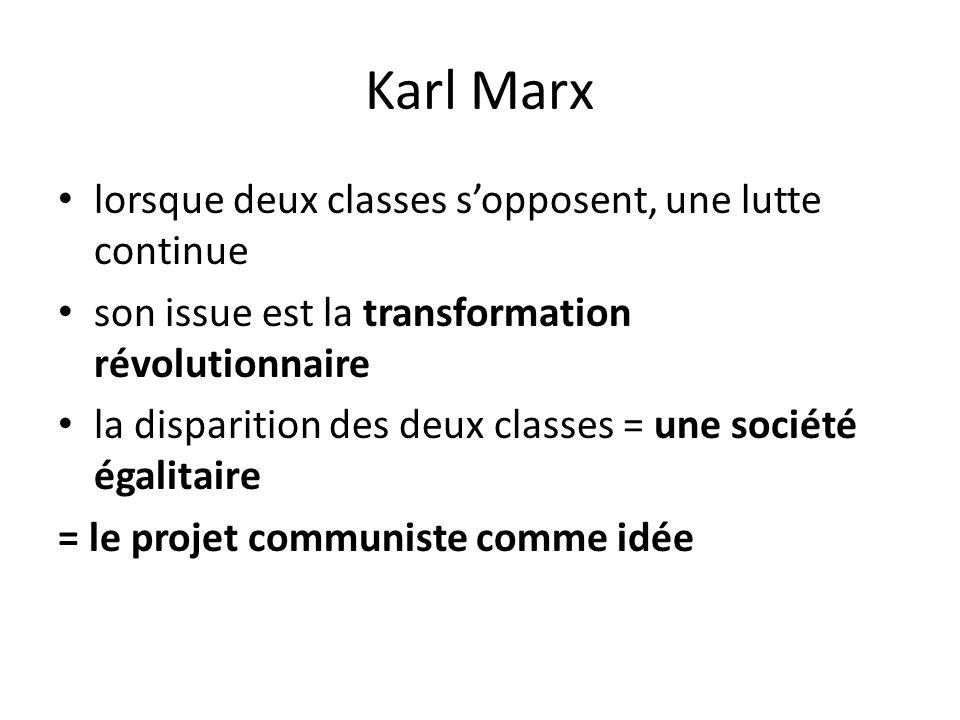Karl Marx lorsque deux classes s'opposent, une lutte continue