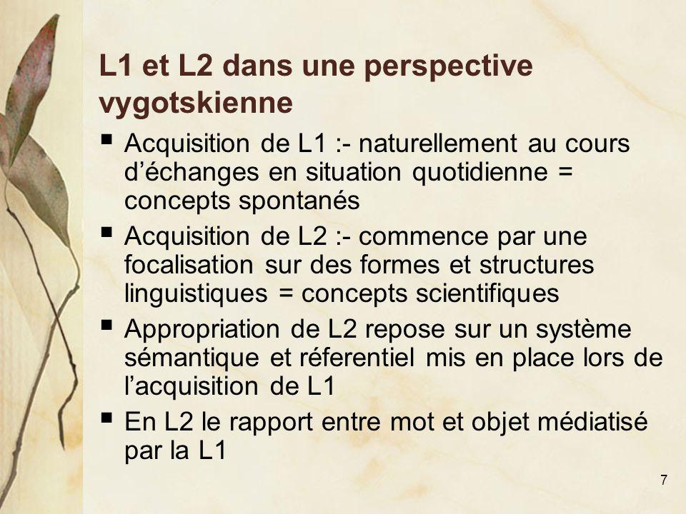 L1 et L2 dans une perspective vygotskienne