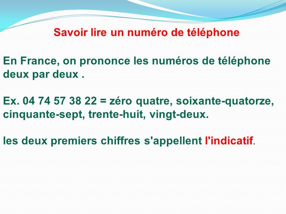 Savoir lire un numéro de téléphone