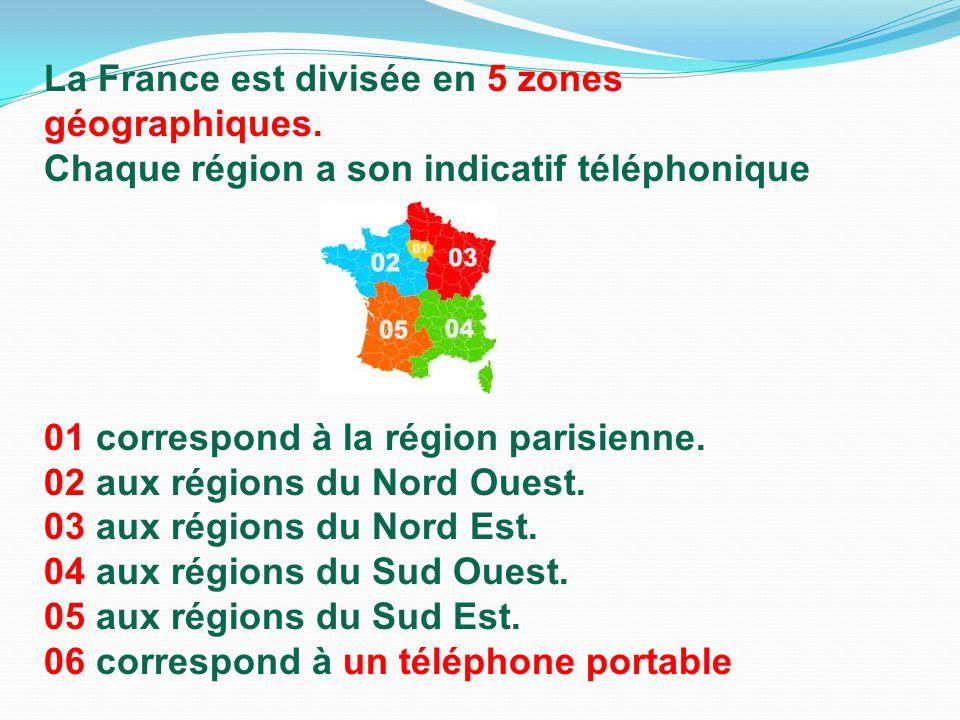 La France est divisée en 5 zones géographiques.