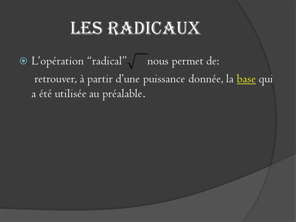 Les radicaux L'opération radical nous permet de: