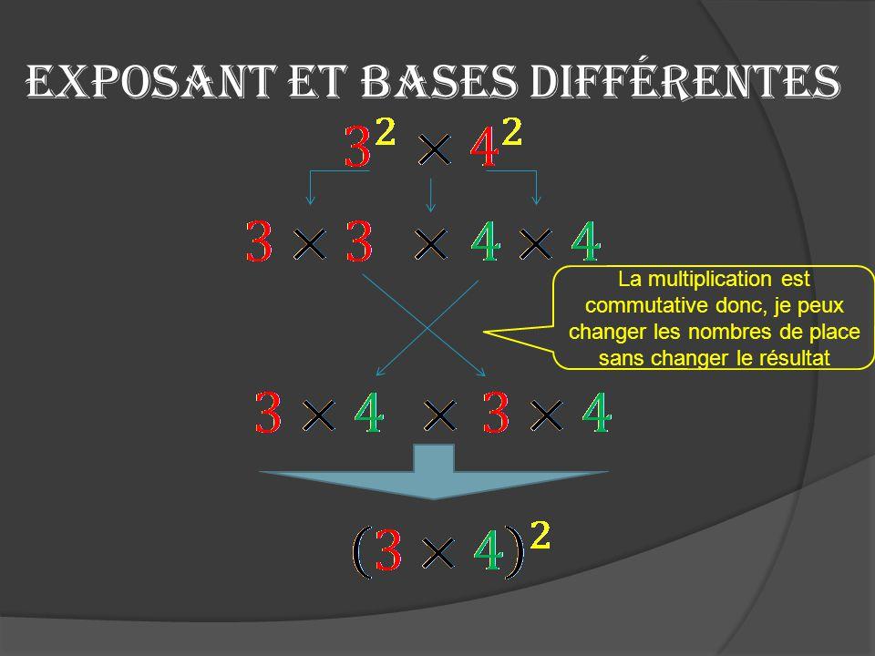 Exposant et bases différentes