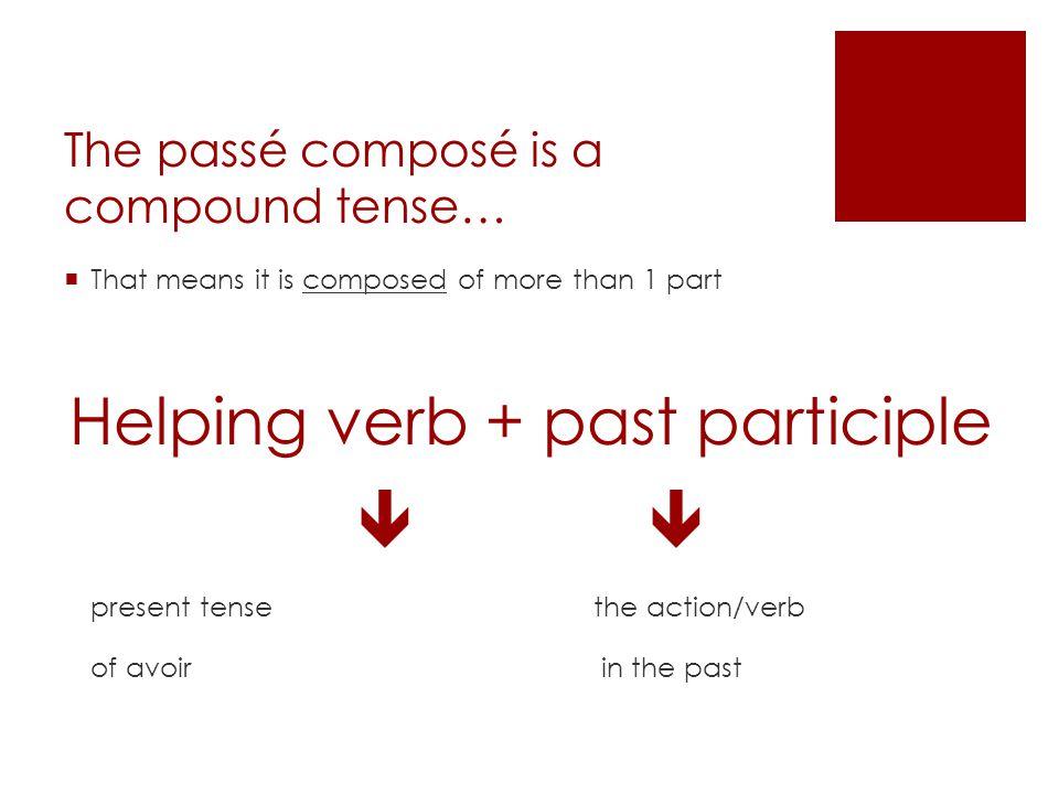 The passé composé is a compound tense…
