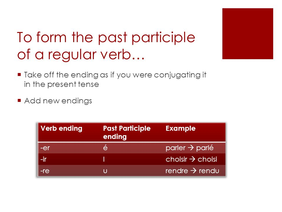 To form the past participle of a regular verb…