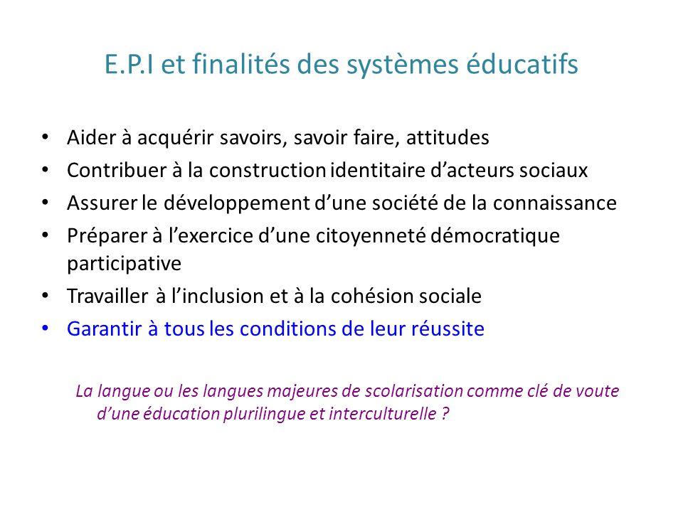 E.P.I et finalités des systèmes éducatifs
