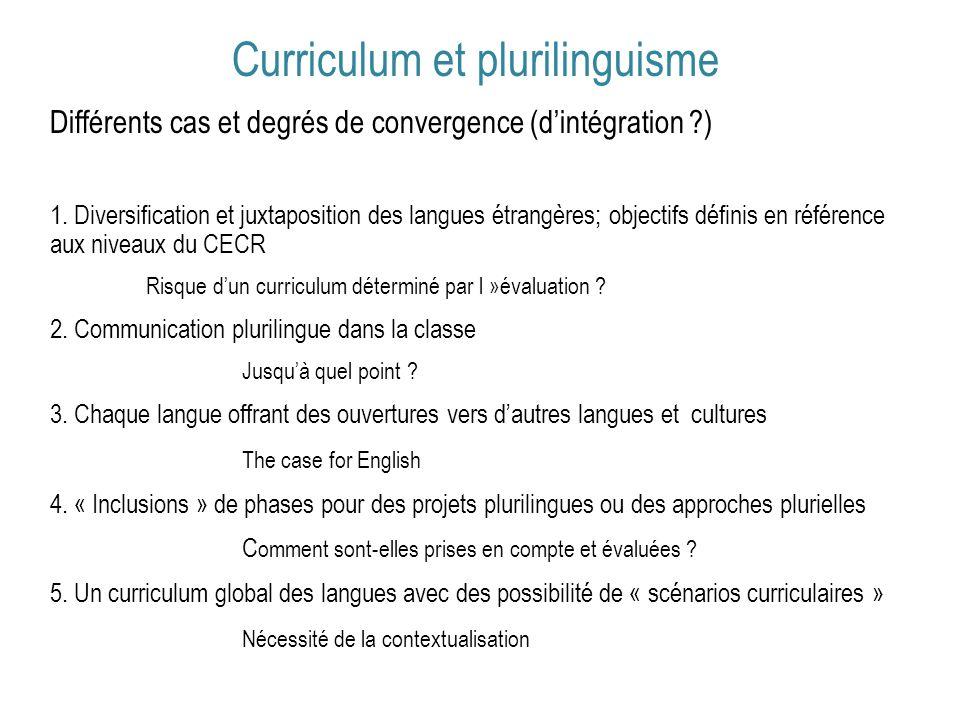 Curriculum et plurilinguisme