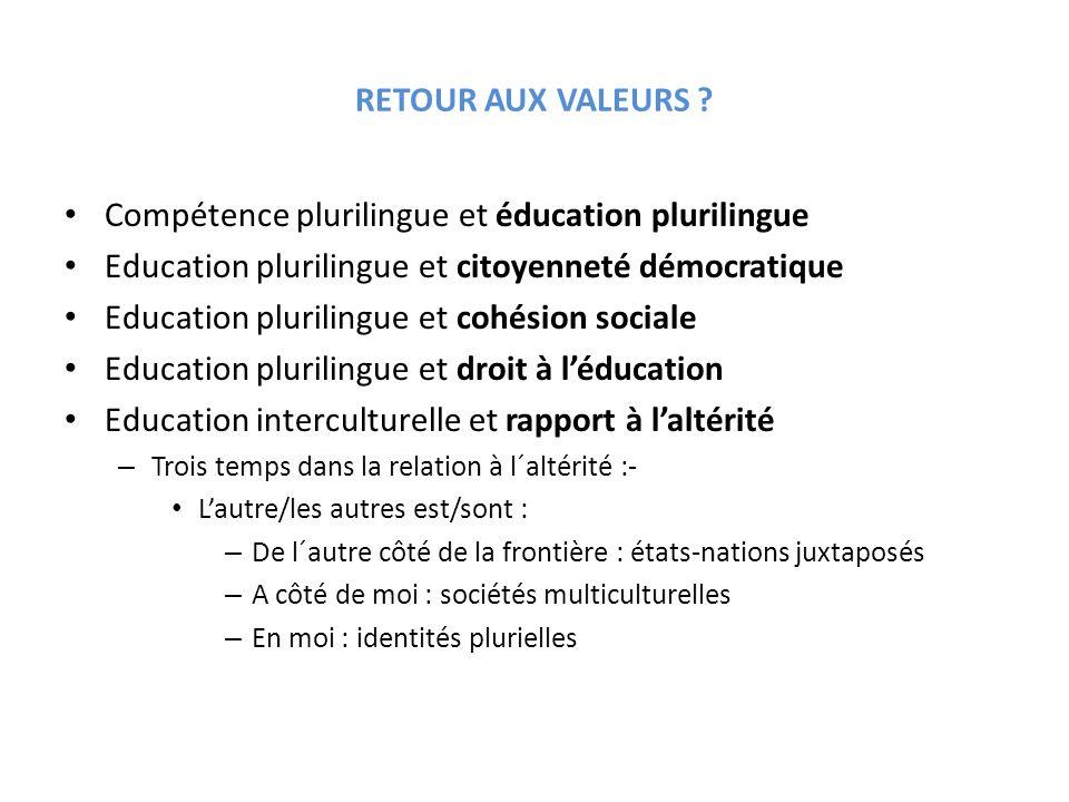 Compétence plurilingue et éducation plurilingue