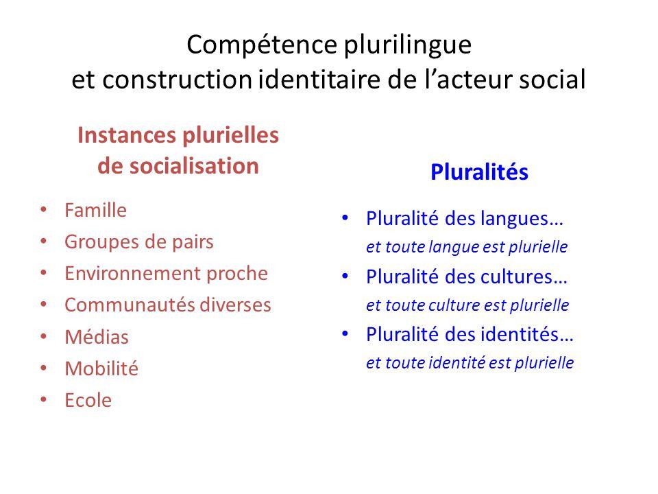 Compétence plurilingue et construction identitaire de l'acteur social