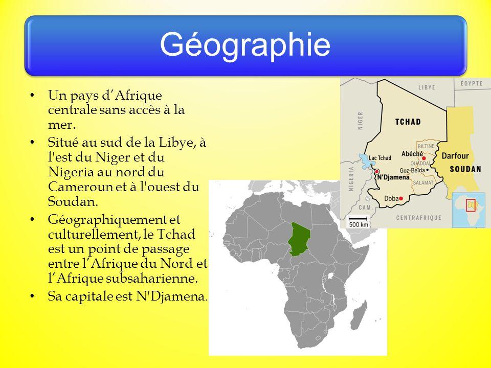 Géographie Un pays d'Afrique centrale sans accès à la mer.