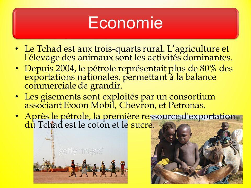 Economie Le Tchad est aux trois-quarts rural. L'agriculture et l élevage des animaux sont les activités dominantes.