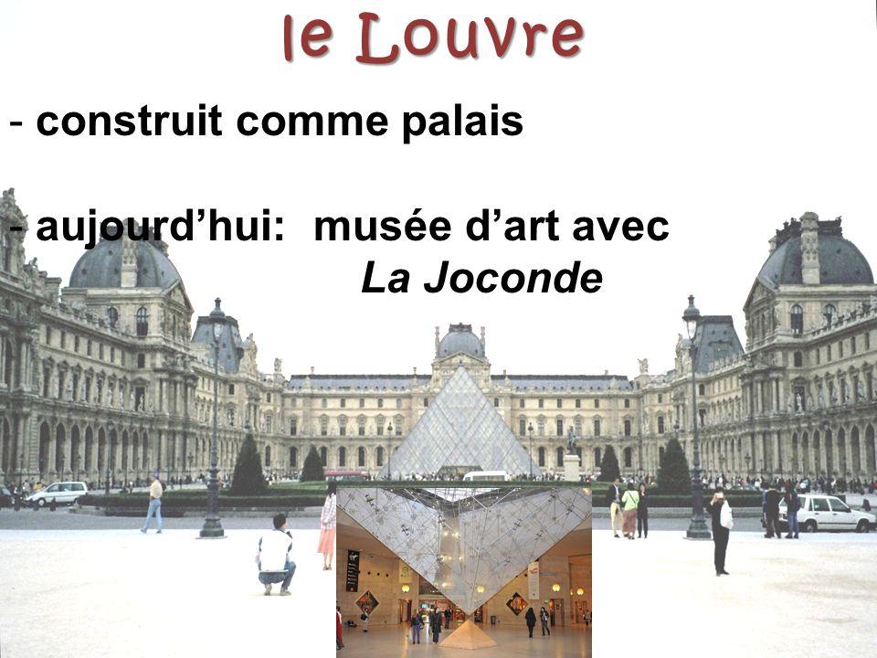 le Louvre construit comme palais aujourd'hui: musée d'art avec