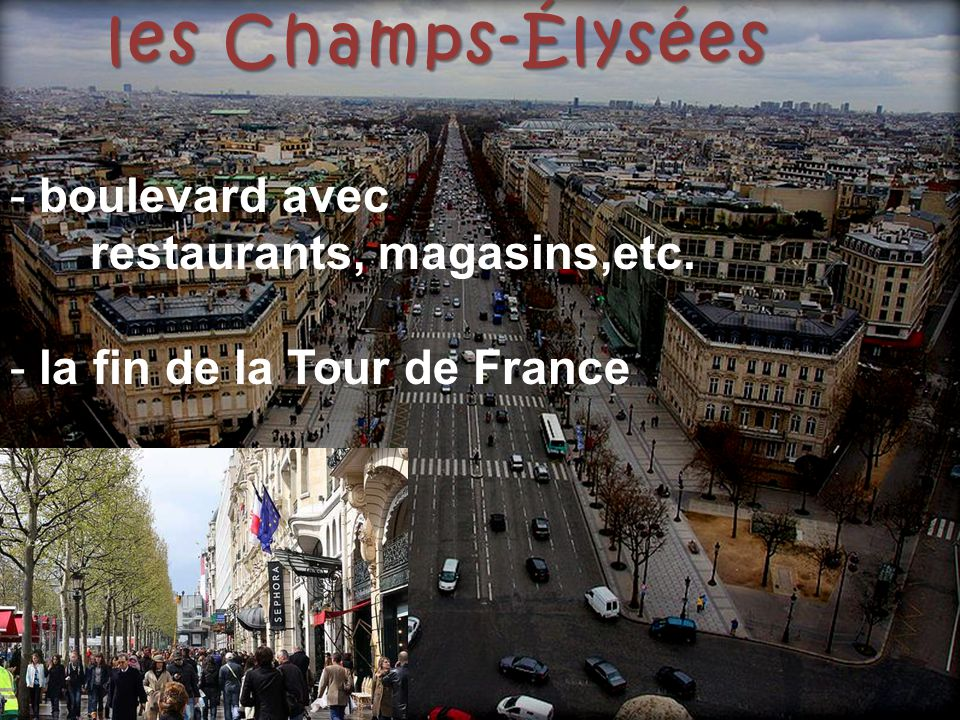les Champs-Élysées boulevard avec restaurants, magasins,etc.