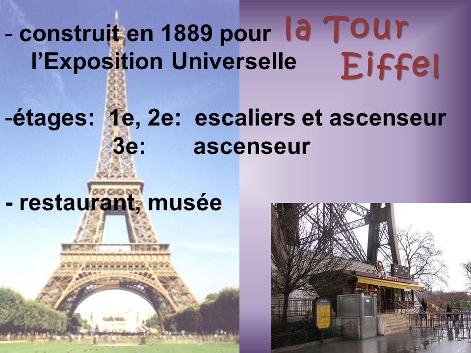 la Tour Eiffel construit en 1889 pour l'Exposition Universelle