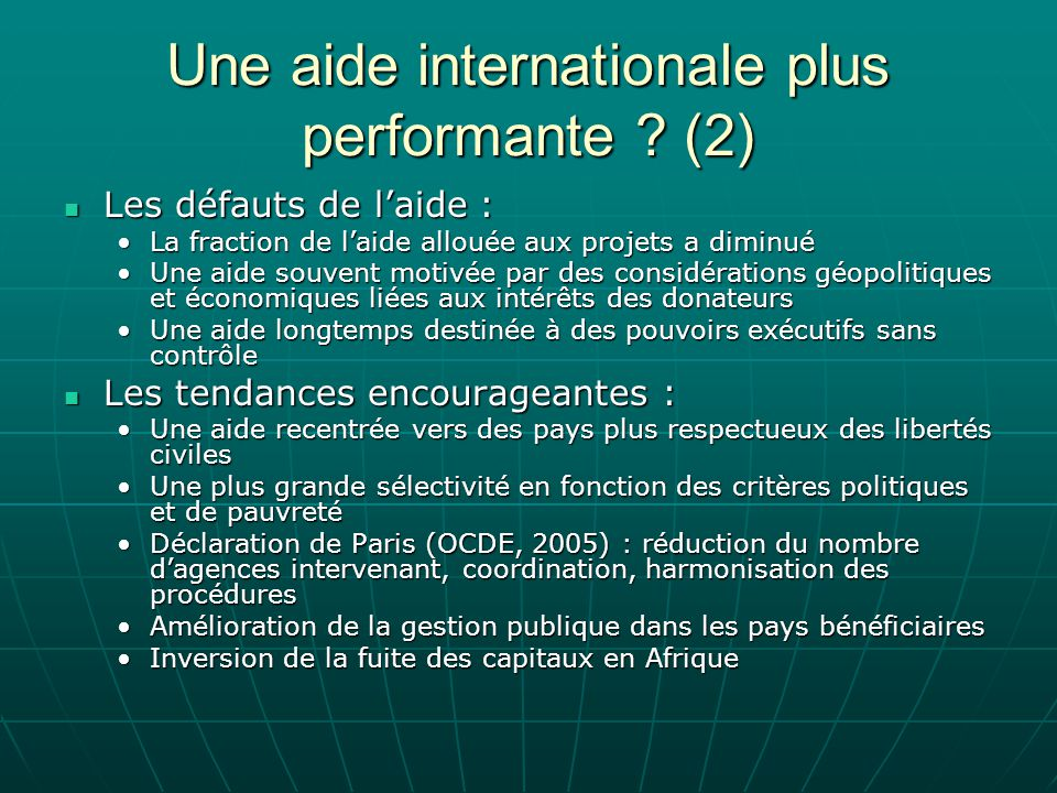 Une aide internationale plus performante (2)