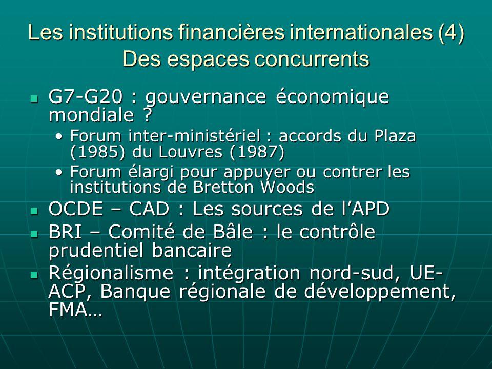 Les institutions financières internationales (4) Des espaces concurrents