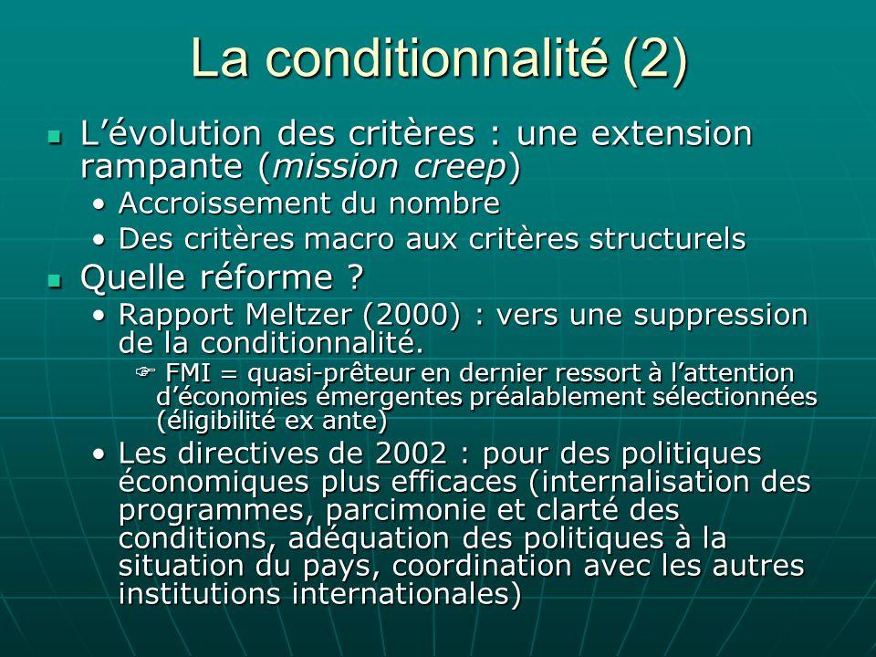 La conditionnalité (2) L'évolution des critères : une extension rampante (mission creep) Accroissement du nombre.