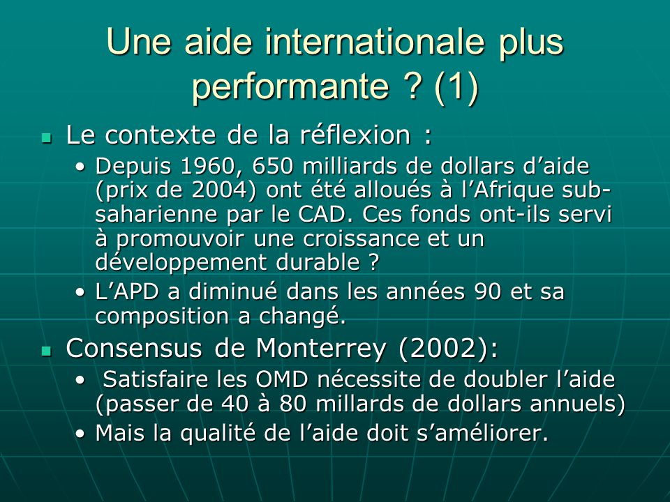 Une aide internationale plus performante (1)