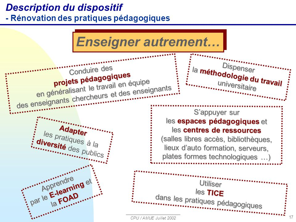 Enseigner autrement… Description du dispositif