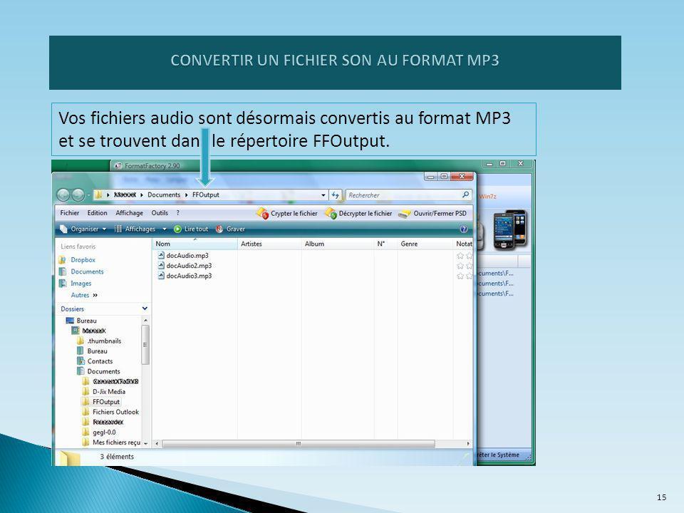 CONVERTIR UN FICHIER SON AU FORMAT MP3