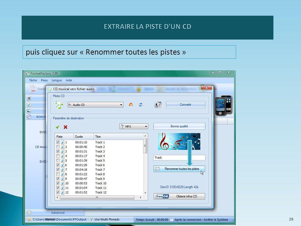 EXTRAIRE LA PISTE D'UN CD