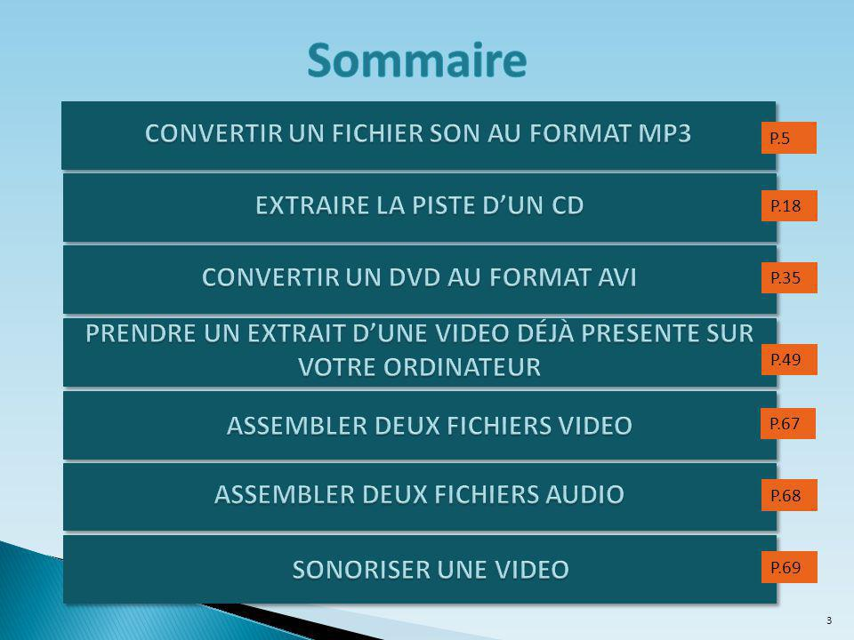 Sommaire CONVERTIR UN FICHIER SON AU FORMAT MP3