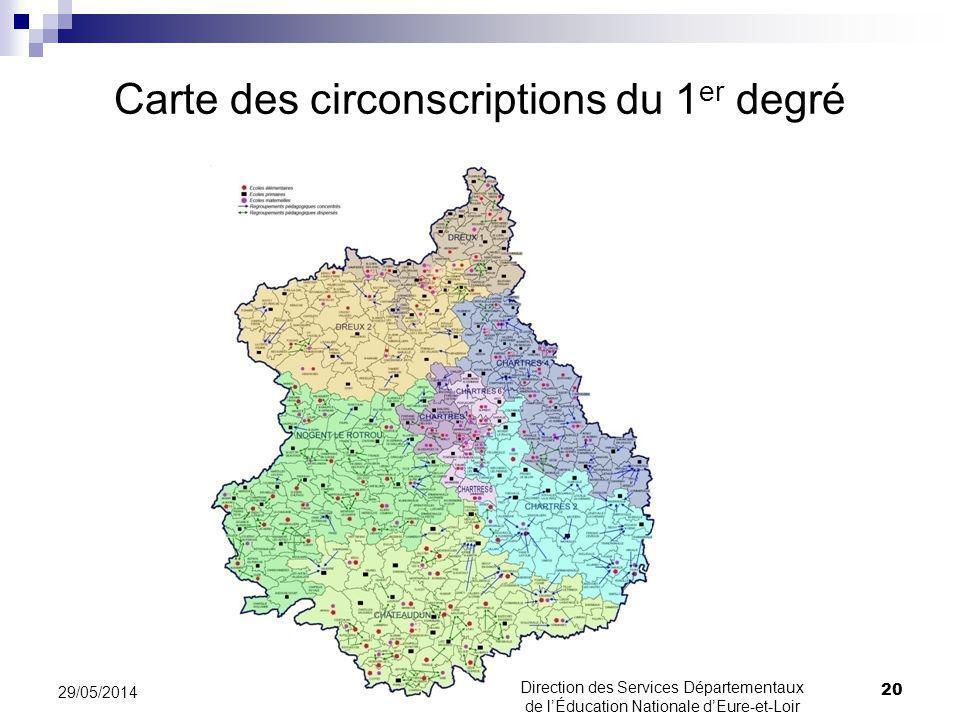 Carte des circonscriptions du 1er degré