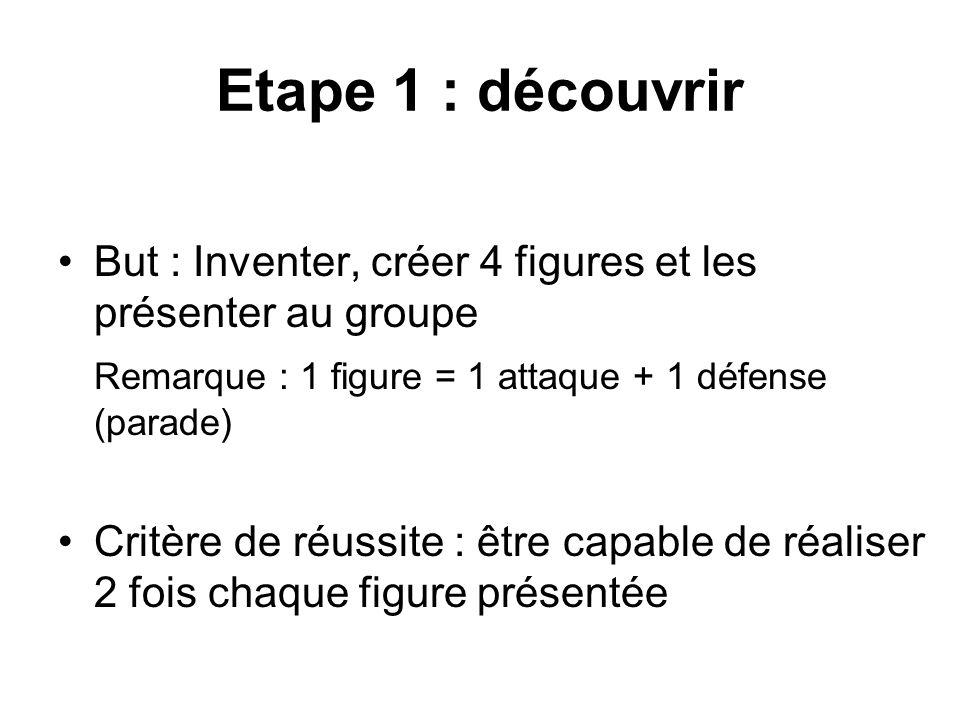 Etape 1 : découvrir But : Inventer, créer 4 figures et les présenter au groupe. Remarque : 1 figure = 1 attaque + 1 défense (parade)