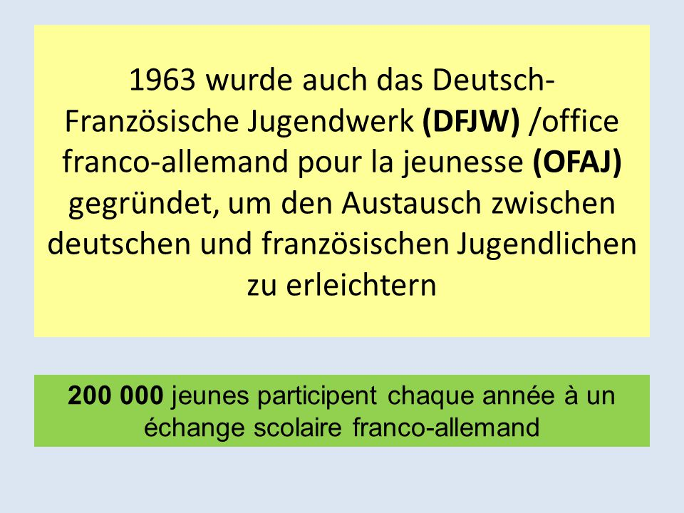 1963 wurde auch das Deutsch-Französische Jugendwerk (DFJW) /office franco-allemand pour la jeunesse (OFAJ) gegründet, um den Austausch zwischen deutschen und französischen Jugendlichen zu erleichtern