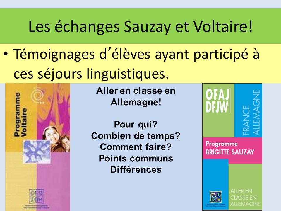 Les échanges Sauzay et Voltaire!