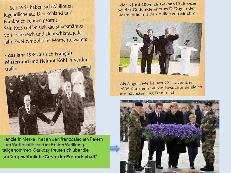 """Kanzlerin Merkel hat an den französischen Feiern zum Waffenstillstand im Ersten Weltkrieg teilgenommen. Sarkozy freute sich über die """"außergewöhnliche Geste der Freundschaft"""