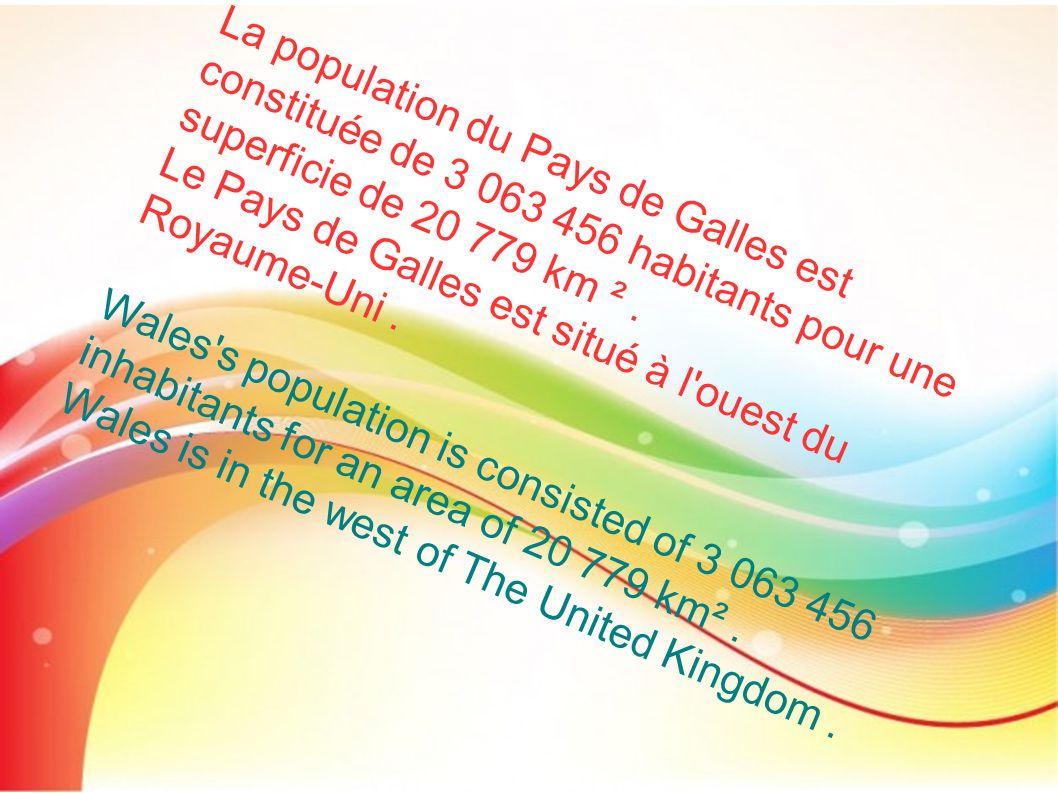 La population du Pays de Galles est constituée de 3 063 456 habitants pour une superficie de 20 779 km ² .