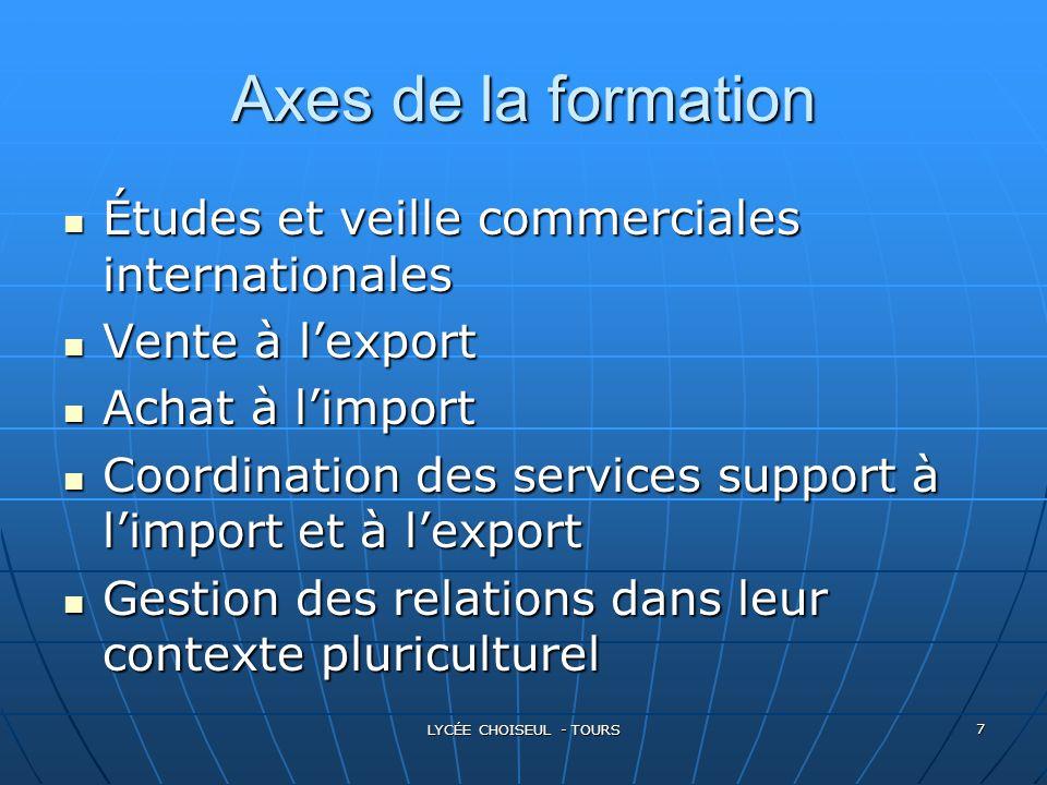 Axes de la formation Études et veille commerciales internationales
