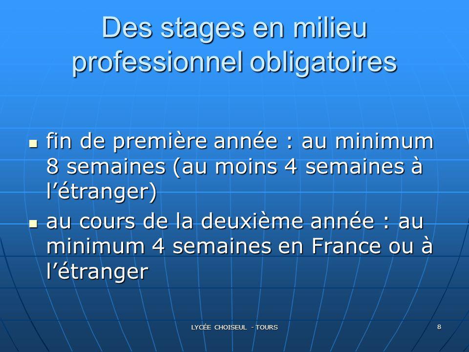 Des stages en milieu professionnel obligatoires