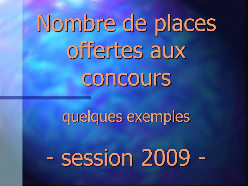 Nombre de places offertes aux concours quelques exemples - session 2009 -