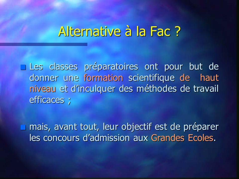 Alternative à la Fac