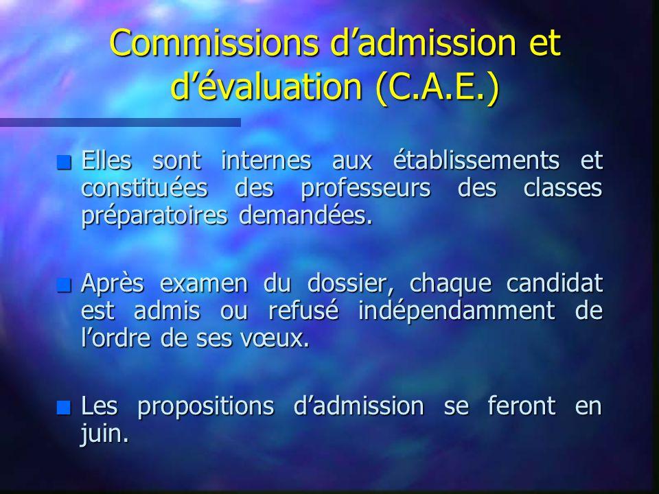 Commissions d'admission et d'évaluation (C.A.E.)