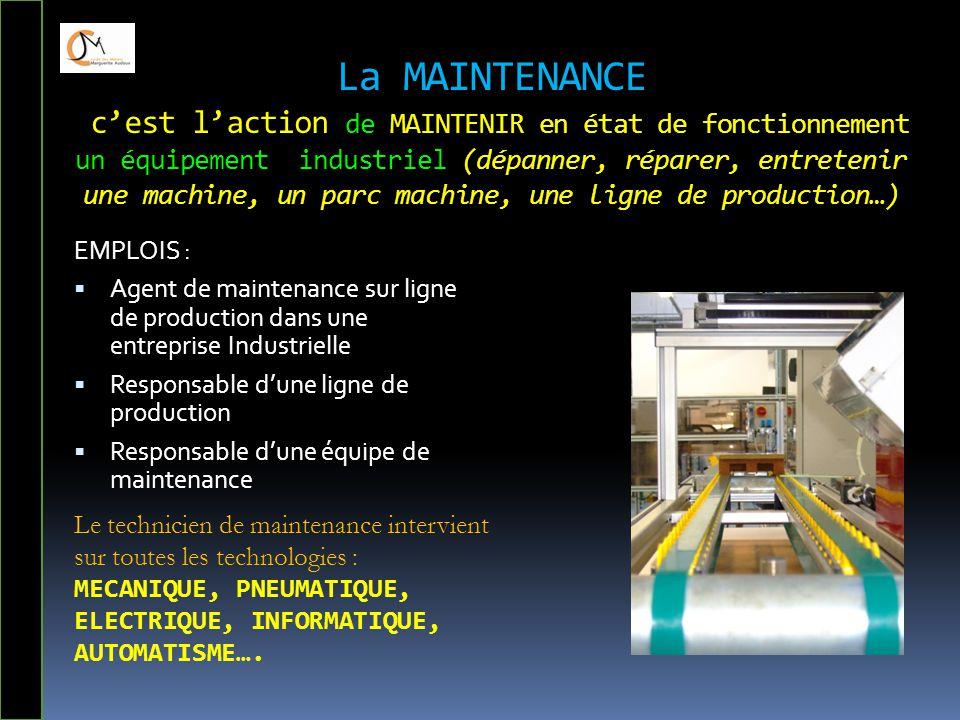 La MAINTENANCE c'est l'action de MAINTENIR en état de fonctionnement un équipement industriel (dépanner, réparer, entretenir une machine, un parc machine, une ligne de production…)