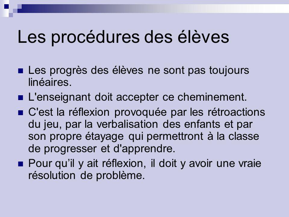 Les procédures des élèves