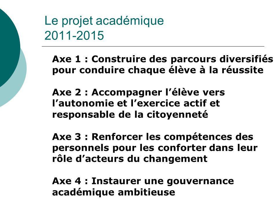 Le projet académique 2011-2015 Axe 1 : Construire des parcours diversifiés pour conduire chaque élève à la réussite.
