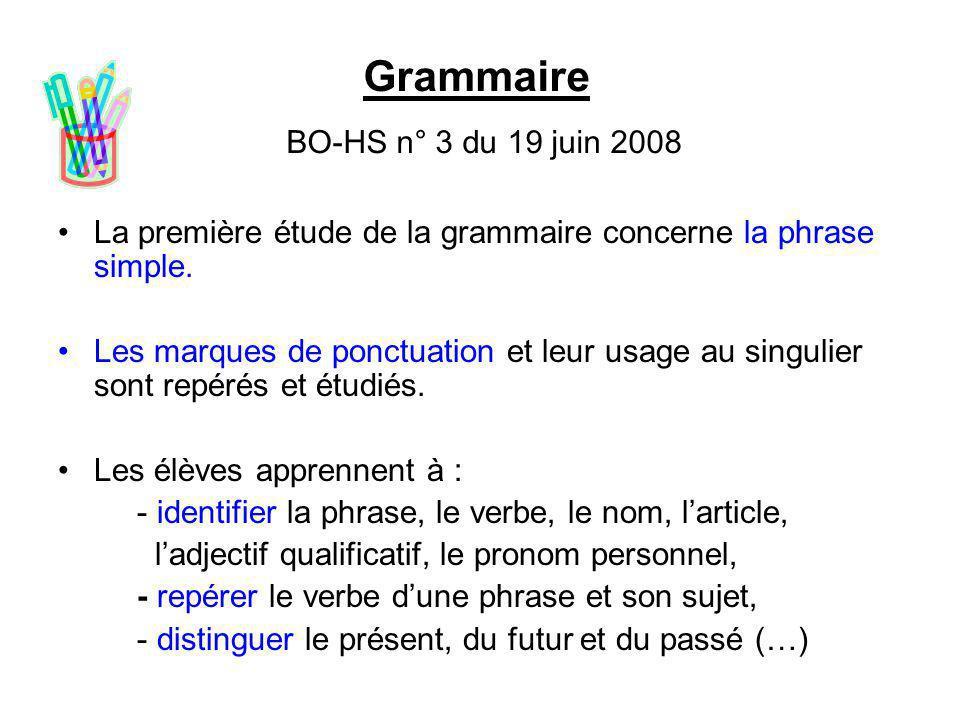 Grammaire BO-HS n° 3 du 19 juin 2008