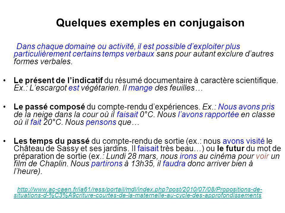 Quelques exemples en conjugaison