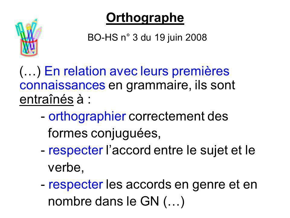 Orthographe BO-HS n° 3 du 19 juin 2008