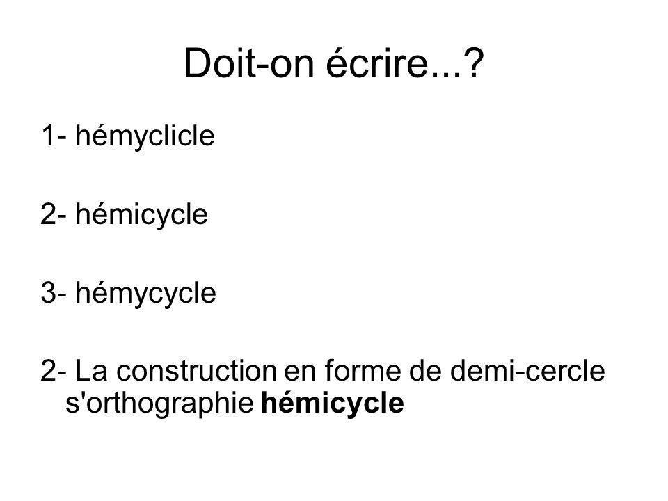 Doit-on écrire... 1- hémyclicle 2- hémicycle 3- hémycycle