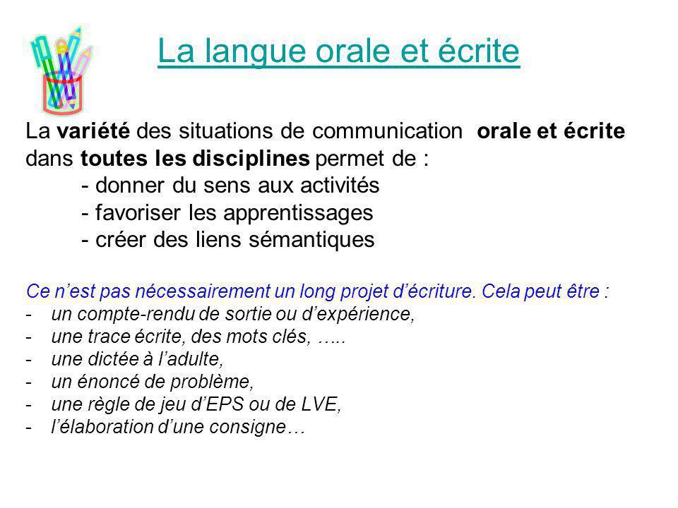 La langue orale et écrite