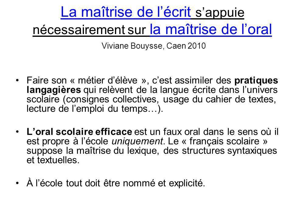 La maîtrise de l'écrit s'appuie nécessairement sur la maîtrise de l'oral Viviane Bouysse, Caen 2010