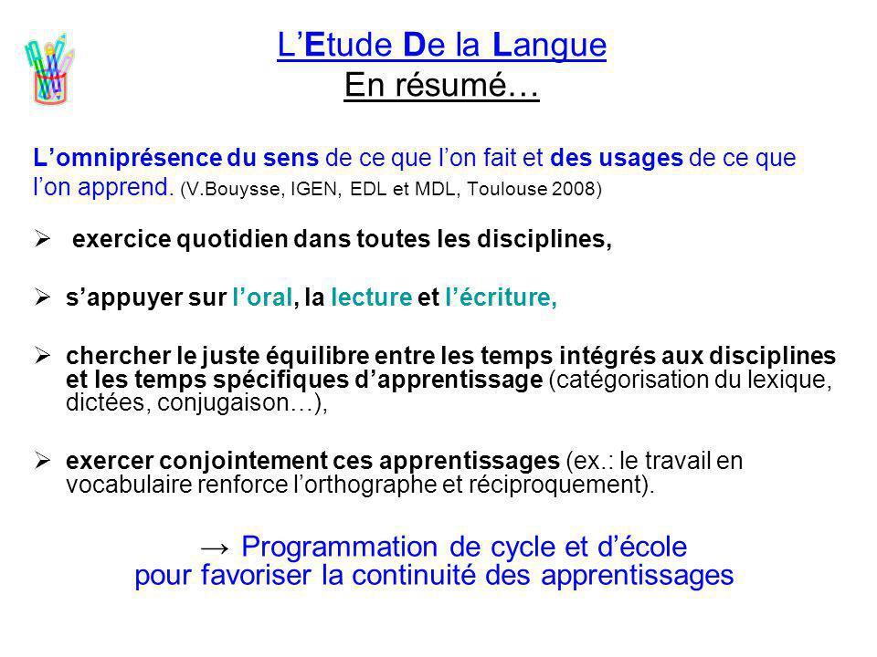 L'Etude De la Langue En résumé…