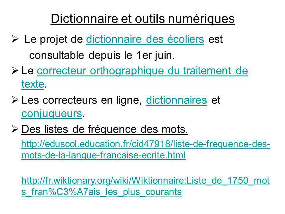Dictionnaire et outils numériques
