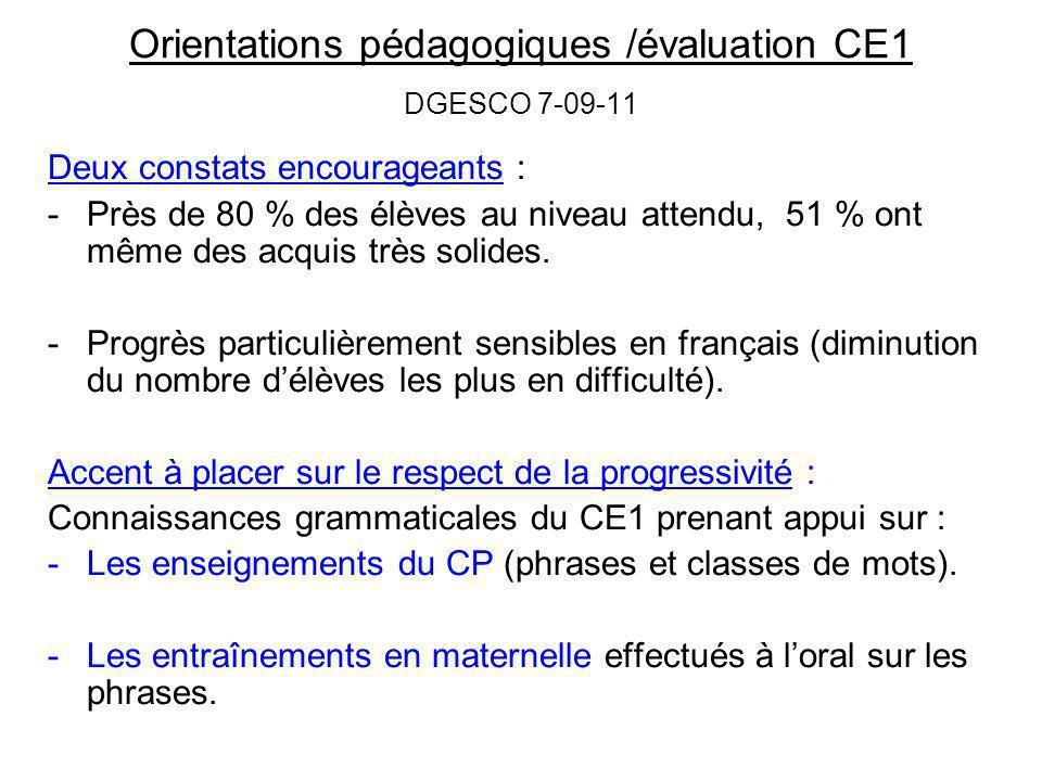 Orientations pédagogiques /évaluation CE1 DGESCO 7-09-11
