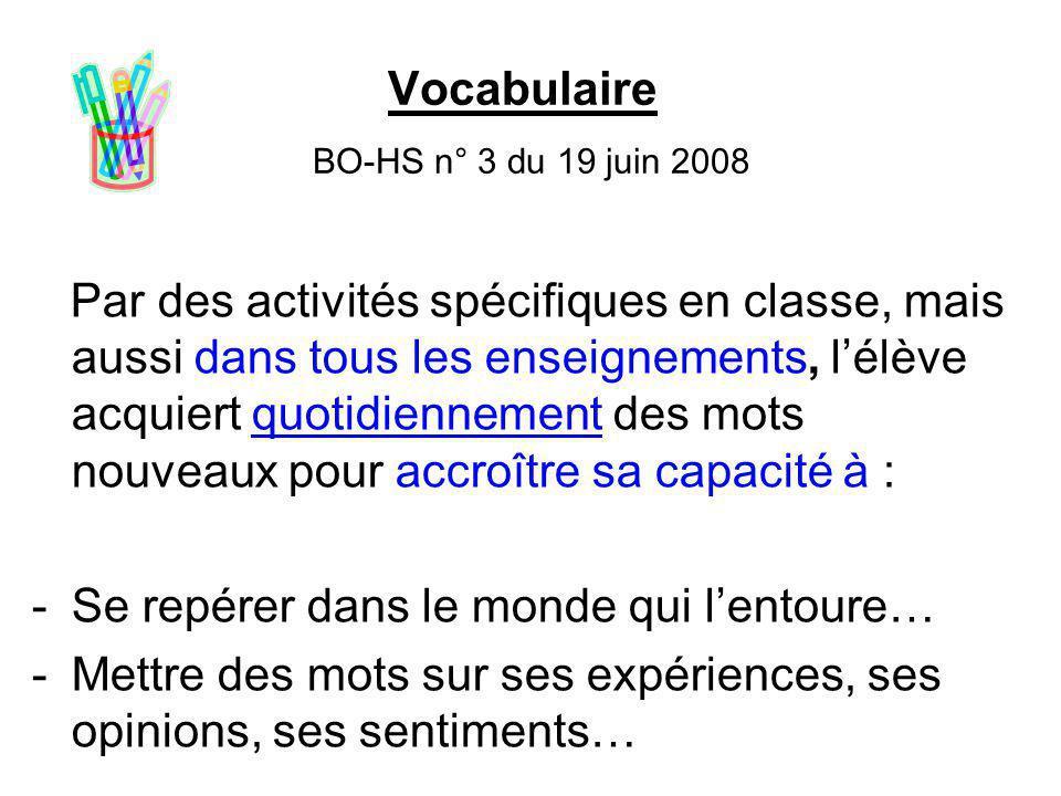 Vocabulaire BO-HS n° 3 du 19 juin 2008